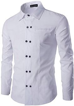 jeansian Men's Fashion Double-Breasted Slim Fit Shirt 84K...…