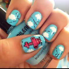 Airplane Gel Nail Designs Nails Design Cute Art