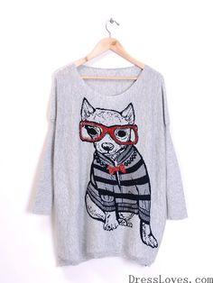 Light Grey Knitting Cute Dog Pattern Korean Fashion Round Neck Ladys Free Size Sweater @H2728lg