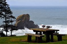 Table for two on the Oregon coast.