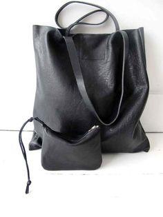 Gorgeous Supple Black Leather Tote Bag , Market Bag , Everyday Bag ($169.00) - Svpply