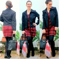 blog v@ LOOKS | por leila diniz: Look xadrez BLACK & RED + mensagem de DEUS