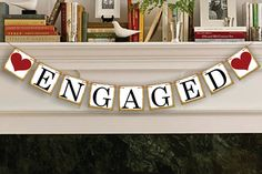 Engaged Banner - Rustic Wedding Banner Photo Prop - Wedding Sign - Wedding Decoration Garland    FREE GIFT WITH EVERY PURCHASE    WE SHIP BANNER OUT