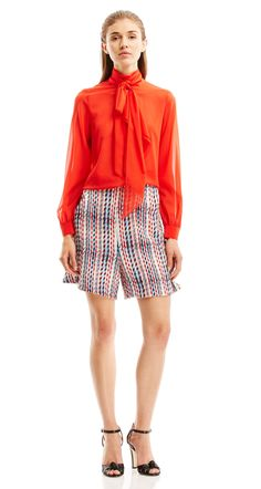 GEORGETTE PICOT RUFFLE BLOUSE - Tops   SCANLAN THEODORE