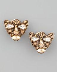 Oscar de la Renta Crystal Panther Clip Earrings - Neiman Marcus pinned with Bazaart