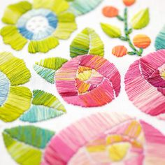 Flower embroidery pattern by Lolli & Grace