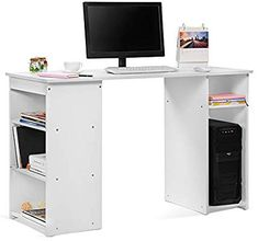Life Computer Desk With 3 Shelves and Storage Cabinet PC Desktop Table Workstation For Home And Office,White Office Desk, Desktop, Computer Desks, Shelves, Cabinet, Storage, Table, Furniture, Home Decor