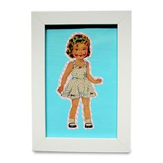 Little Girl in Nightie/Dress on Blue. 12.5 x 17.5cm Frame - The vintage style 'Little Girl' prints are available with either aqua or hot pink backgrounds and come in a 12.5cm x 17.5cm frame.