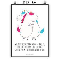 Poster DIN A4 Einhörner Umarmen aus Papier 160 Gramm  weiß - Das Original von Mr. & Mrs. Panda.  Jedes wunderschöne Poster aus dem Hause Mr. & Mrs. Panda ist mit Liebe handgezeichnet und entworfen. Wir liefern es sicher und schnell im Format DIN A4 zu dir nach Hause.    Über unser Motiv Einhörner Umarmen  Die Einhorn-Edition ist eine ganz besonders liebevolle und einzigartige Kollektion von Mr. & Mrs. Panda. Wie immer bei unseren Produkten sind alle Motive handgezeichnet und werden mit viel…