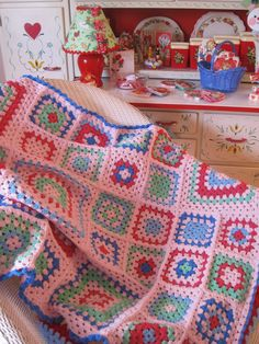Granny square throw (no pattern)