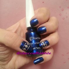 Studded Metalic Blue Nails using Flormar #433