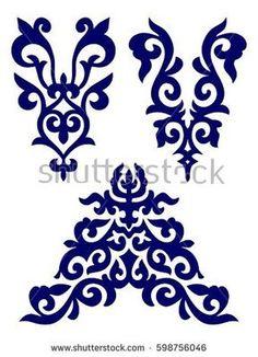 Border Embroidery Designs, Machine Embroidery Applique, Machine Embroidery Patterns, Beaded Embroidery, Hand Embroidery, Arabesque, Stencil Art, Stencils, Scroll Pattern
