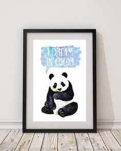 16x20 inches Panda I dream in color watercolour print in Blue nursery art watercolor printable digital instant download watercolour panda by hellomrmoon on Etsy https://www.etsy.com/listing/462097915/16x20-inches-panda-i-dream-in-color