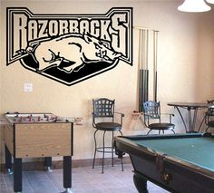 Wall Vinyl Sticker Decals Art Mural Sports Logos Arkansas Razorbacks