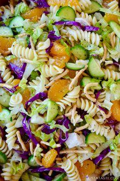 Chinese Chicken Pasta Salad with Sesame Dressing | Just a Taste Sesame Dressing Recipe, Greek Yogurt Banana Bread, Salad Topping, Chinese Chicken, Chinese Food, Famous Recipe, Pasta Salad Recipes, Noodle Recipes, Chicken Pasta