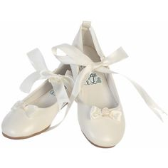 Ivory Ballerina Shoe w/ Satin Ribbon (544.935 VND) ❤ liked on Polyvore featuring shoes, ivory satin shoes, skimmer shoes, ballet pumps, ribbon ballet shoes and ribbon shoes