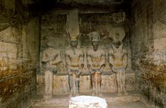 """egypt-museum: """"The Holy of Holies View of the Holy of Holies depicting four seated statues of: Ra, Ptah, Amun and Ramesses II. Inside the Great Temple of Ramesses II at Abu Simbel, Lower Nubia. Statues, Egypt Museum, Ancient Artefacts, Ancient Egypt Art, Temple, Egyptian Art, Vintage Photographs, Prehistoric, Archaeology"""