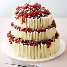 white chocolate layered celebration cake with berries