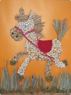 Kids Art Projects, Arts And Crafts For Kids, Painting For Kids, Baby Art, Painting, Seed Art, Mosaic Art, Horse Crafts