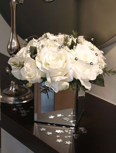 Silver Vase With Artificial Flowers Wedding Flower Arrangements, Table Arrangements, Table Centerpieces, Floral Arrangements, Room Ideas Bedroom, Room Decor, 25th Wedding Anniversary, Artificial Silk Flowers, New York Wedding