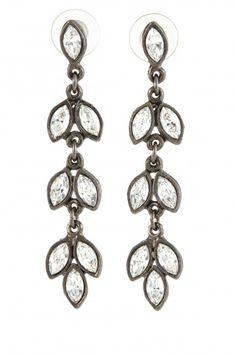 Linear Crystal Leaf Earrings   | Calypso St. Barth