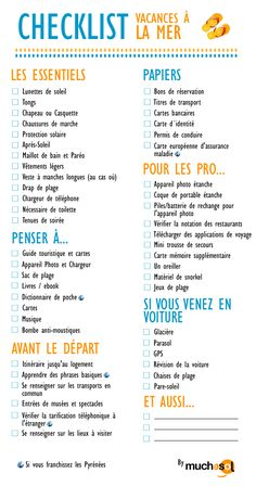 liste-vacances-plage……re pinned by Maurie Daboux ╰☆╮ Plus Travel Checklist, Travel Essentials, Travel Tips, Holiday Checklist, Travel Hacks, Travel Packing, Travel Ideas, Travelling Tips, Traveling