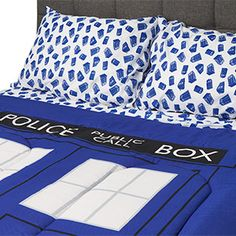 Choose either the comforter and sham(s), which looks like one oversized TARDIS, or the sheet set with flat sheet, fitted sheet, and pillowcase(s), which has multiple TARDIS spinning around on a white background.