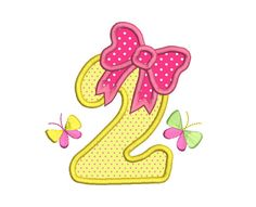 2nd Birthday Number Applique Embroidery by RosiedayEmbroidery