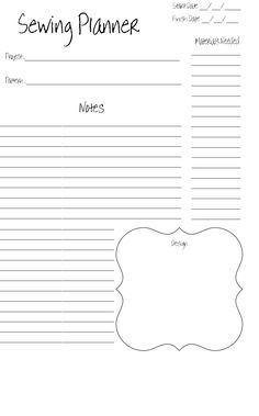 B Sewing Planner