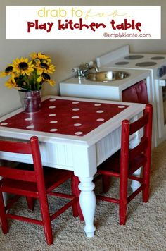 to Fab Play Kitchen Table Game Table or Play Kitchen Table! An old end table is turned into a darling focal point in the playroomGame Table or Play Kitchen Table! An old end table is turned into a darling focal point in the playroom Paint Kids Table, Kids Table And Chairs, Kid Table, Play Table, Diy Kids Furniture, Repurposed Furniture, Cheap Furniture, Bedroom Furniture, Furniture Design