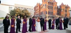 Eggplant and Orange Bridal Party combo with black tuxes.