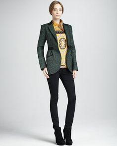 Tweed Jacket, Paisley-Print Top & Slim Ponte Pants by Nanette Lepore at Neiman Marcus.