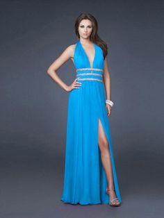 A-line Halter Chiffon Blue Long Prom Dresses/Evening Dress With Beading #USALF036