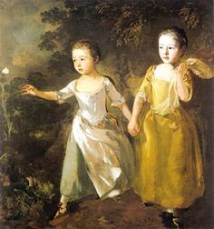 Gainsborough - The Painters Daughters Chasing a Butterfly - Thomas Gainsborough - Las hijas del pintor persiguiendo una mariposa, (1756)