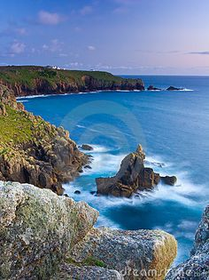 Rock formation knowns as the Irish Lady at Sennen Cove Cornwall England UK