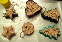 birdseed ornaments  http://www.howtohaveitall.net/2011/12/02/how-to-make-birdseed-ornaments/