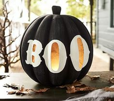 Halloween Luminary, Large Black Pumpkin with Boo