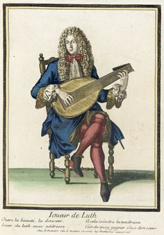 """1675-1679 French Fashion print """"Recueil des modes de la cour de France, 'Joueur de Luth'"""" at the Los Angeles County Museum of Art, Los Angeles"""