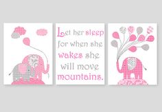 Girl Nursery Art Gray Grey and Pink Elephants Let Her Sleep For When She Wakes She Will Move Mountains 8 x 10 or 11 x 14 Print Set of 3 Baby on Etsy, $38.00