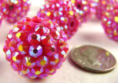 12 Hot Pink Rhinestone Beads Big Sparkling Bling Resin Balls Crystal 18mm. $5.95, via Etsy.