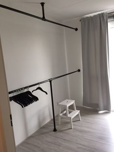 10 Attractive Open Wardrobe Ideas For Sophisticated Residence diy rohre Pipe Closet, Closet Bedroom, Bedroom Decor, Clothes Rack Bedroom, Closet Racks, Closet Curtains, Entryway Closet, Apartment Entryway, Attic Closet