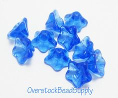 10 Sapphire Blue Glass Bead Caps Flower by OverstockBeadSupply, $2.65
