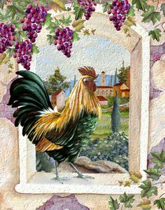 Colorful rooster in the window, kitchen decor, rooster art, pictures of…