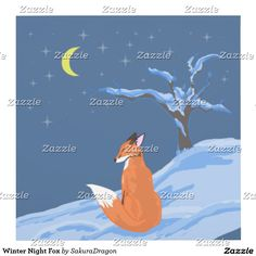Winter Night Fox Outlet Cover #fox #foxes #winter #snow #animals