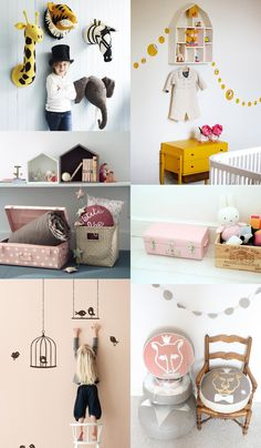 {1. Felt Animal Heads 2. Yellow room 3. Book shelf and basket 4. Pink briefcase 5. Bird Cage 6.Animal Pillows} Our Pinterest inspiration today are fun decoration ideas for your kid's room. Thanks to Kiki Maouw's board, we love these...