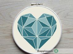 Moderne cross stitch patroon hart, turquoise geometrische hart, PDF patroon ** instant download **