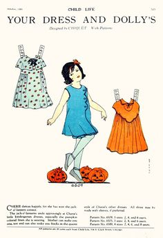 Oct 1929 Child Life Vintage Paper Dolls Sewing Toys