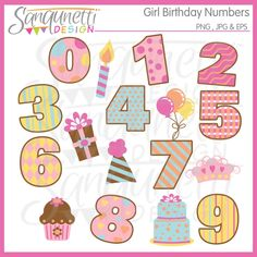Girl Birthday Numbers Clipart includes numbers 0-9, balloons, cake, candle, crown, cupcake, gift and hat.  Would work well for party invitations, printables, and embroidery use for birthday gifts too.