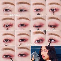 Kpop Make Up - Makeup Tutorial African American Korean Makeup Look, Korean Makeup Tips, Asian Eye Makeup, Chinese Makeup, Eye Makeup Glitter, Eye Makeup Cut Crease, Makeup Inspo, Makeup Inspiration, Asian Makeup Tutorials