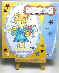 """Summer greeting card with """"Amy"""" Whimsy Stamps; Designerpaper """"Life by the Sea"""" Maja Design; Wood embellishments and Sentiment Iris-istible; colored with Touch Twin Brush Marker; ovale dies """"XXL Ovals"""" Crealies // For You"""